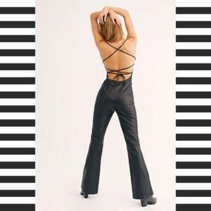 ✨FREE PEOPLE✨Black Leather Jumpsuit